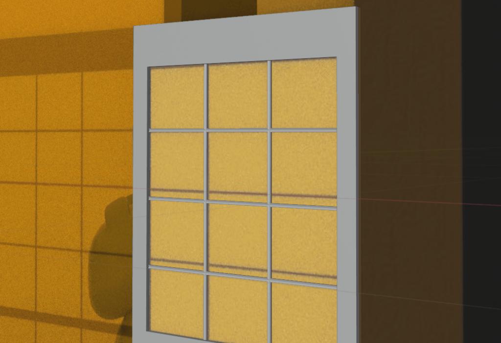 障子紙を平面を追加して貼る