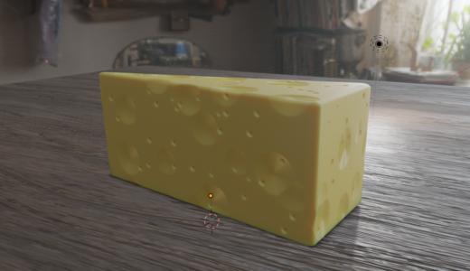 【Blender2.8トレーニング】チーズを作ってみました 床テクスチャの貼り方など