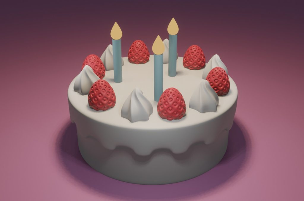 blender2.8 ケーキ